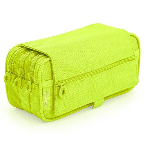 Colorline 58311 - Astuccio Portapenne / Portatutto Triplo con Ampie Sezioni Interne, Custodia Multi Purpose da Materiale Scolastico. Colore Verde Lime, Misure 22 x 11 x 9 cm