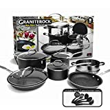 GRANITESTONE 2807 10-Piece Non-Stick Ultra Durable, Mineral & Granite Coated Scratch Proof Cookware Set + 5 Piece Utensil Set