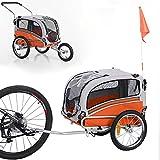 Sepnine & Leonpets pet Carry of 2 in1 pet Dog Bike Trailer Bicycle Trailer and Jogger 20303 Orange…