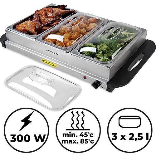 Buffetwärmer - Elektrisch, mit Heizplattenfunktion, Setwahl, Temperaturregler, Edelstahl - Warmhaltegerät, Speisewärmer, Warmhalteplatte, Warmhaltebehälter (1er, 3x2.5L)