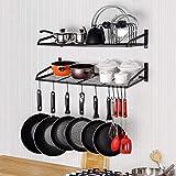 Pfannenhalter Küche Wandregal Topf Rack Pot Regal Gewürz Hängeregal mit 10 Haken, Topfdeckelhalter, 2 Stück
