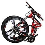 Eurobike G4 Mountain Bike 26 Inches 3 Spoke Wheels Dual Suspension Folding Bike 21 Speed MTB Red