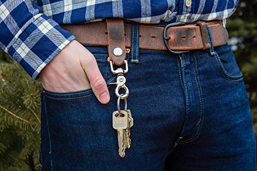 Main Street Forge | Full Grain Leather Keychain for Men | Made in USA | Hand Made | Luxury Valet Key Chain | Quick Detach | Men's Key Ring Organizer