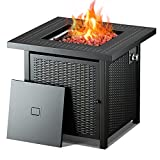 28' Gas fire Pit, Propane Fire Pit Table, 50,000 BTU Auto-Ignition, ETL Certification and Strong Striped Steel Surface, Summer Table, Winter Pit