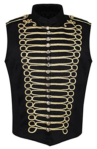 Ro Rox Men's Black Gold Punk Military Drummer Sleeveless Parade Jacket - (Men's XS) (Apparel)