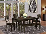 East West Furniture Rectangular Dining Table Set 6 Pc - Wooden Dining Chairs Seat - Cappuccino Finish Small Rectangular Table and Kitchen Dining Bench
