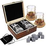 Ensemble de Verres à Whisky - Coffret Cadeau Bois - 8 Glaçons en Pierre...