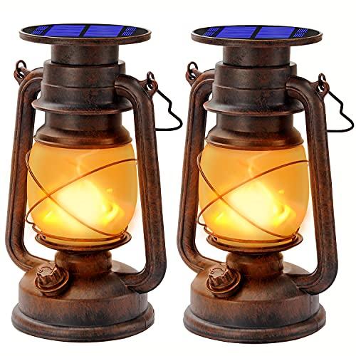 Lanternes Solaires Extérieur Lanterne tempête LED De Lanterne avec Effet...
