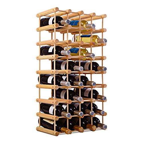 COSTWAY Portabottiglie per Vino in Legno, Scaffale per Vino, Cantinetta Porta Vino in Legno di Pino, Naturale, 85 x 44 x 24 cm