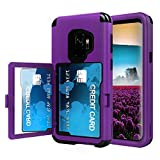 Sumsung Galaxy S9 Case, Acxlife Galaxy S9 Case Shockproof Heavy-Duty Protective Hybrid Cover with Card Slot Holder and Opened Back Mirror & Kickstand Case for Samsung (Purple-B)