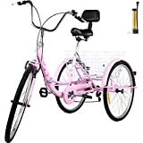 Bkisy Adult Folding Tricycle 7-Speed, 24-Inch Three Wheel Cruiser Bike with Cargo Basket (Pink)
