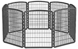 IRIS USA 34'' Exercise 8-Panel Pet Playpen without Door, Dark