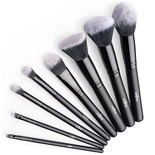 Anjou Brochas Maquillaje Profesional 8 Piezas, Set Brochas de Maquillaje 100% Libre de...