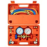 Orion Motor Tech 3 Way AC Diagnostic Manifold Gauge Set for Freon Charging, Fits R134A R12 R22 and R502 Refrigerants, with 5FT Hose, Acme Tank Adapters, Adjustable Couplers and Can Tap
