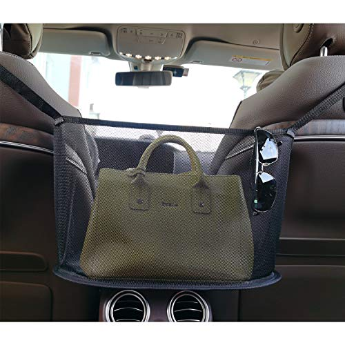 5147gAmKJuL 【EXTRA STORAGE】- The Car Net Pocket Handbag Holder completely covers the gap between the front two seats and make them your extra storage.It can stretch to the perfect size based on different spaces between the driver and the passenger seats of various car models.The mesh bag design helps to storage your items like phone/tablet/purse/magazine/perfume/lipstick... and keep them in good order of reachable place. 【P【ET AND KIDS BARRIER】- This car organizer can completely cover the gap between the front two seats, and put more things in.It is also a special barrier that prevents naughty kids or pets in the back seat disturbing your daily drives. 【SAFE DRIVING】- Net Pocket Handbag Holder helps reduce distracted driving by providing easy access to your purse contents without taking your eyes off the road. It eliminates the need for inconvenient purse placement at your passenger's feet.
