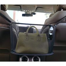 5147gAmKJuL INCREASE EXTRA SPACE STORAGE - The car handbag holder is a new storage organizer, it not only perfectly covers the interval space between the front two seats, but also utilizes unused space between and behind the front seats as a high-quality storage. This a simple fix to stop your purse or other items from dumping out or rolling around. This car hand bag holder is very convenient to organize and store the items such as phone, tissue, CD, water cup,mp3, charging cable, newspaper, magazine etc. ENSURE SAFE DRIVING - Car pocket handbag organizer can be as a special barrier that prevents naughty kids or pets in the back seat disturbing your daily drives. The handbag holder also helps reduce and prevents distraction while driving by providing easy access to your belongings without taking your eyes off the road. Our car storage bags makes getting your purse so easier, no longer have to ask someone riding in your back seat to hand you purse or some else you want. COMPATIBILITY–Please kindly note before buying. This car pocket handbag organizer compatible with most off-road vehicles, SUV UTV and other vehicles with headrest rod and console. It is not suitable for some car consoles, such as side-opening armrest box, no armrest box, double-opening armrest box, sports armrest box. Our car seat storage organizer could as a great gift for people who usually throw their purses or bags in the backseat and have to search for them when they need them.