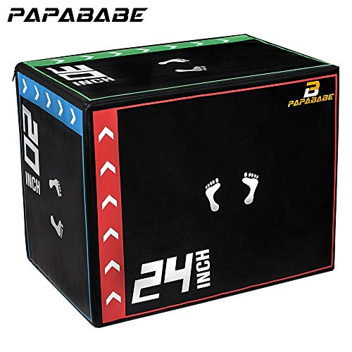 papababe 3 in 1 20'' x 24'' x 30 Foam Plyometric Box Jumping Exercise