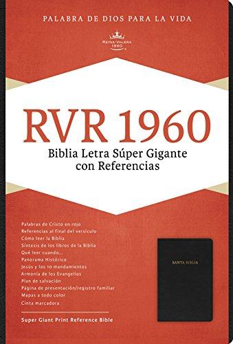 Rvr 1960 Biblia Letra Super Gigante, Negro Piel Fabricada Con Indice
