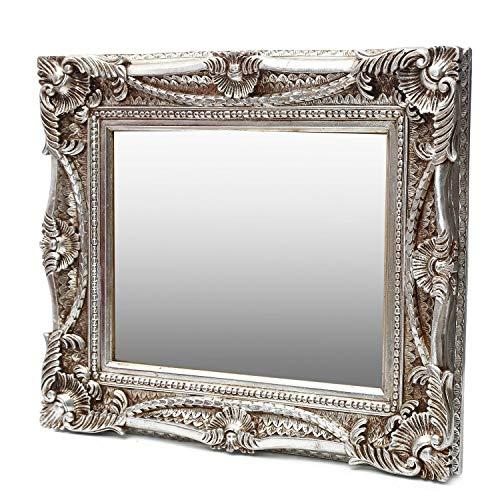 Antik Wandspiegel Silber 60x70 mit Facettenschliff - Handgefertigt - Barock Spiegel