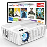 [Native 1080P Projector with 100Inch Projector Screen] 6800Lumens LCD Projector Full HD Projector Max 300' Display, Compatible with TV Stick, HDMI, AV VGA, PS4, Smartphone for Outdoor Movies