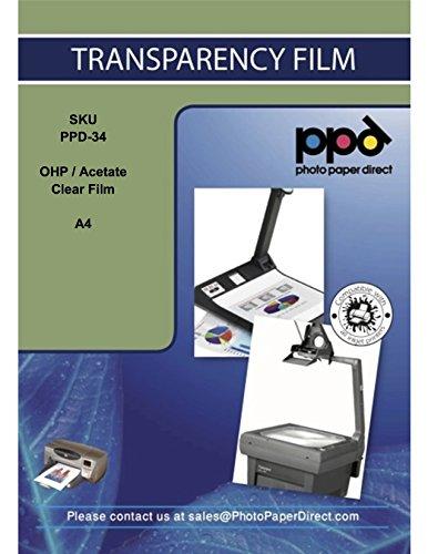 PPD A4 Fogli Trasparenti Per Stampanti A Getto D'inchiostro Inkjet - Per Lavagne Luminose - 50...