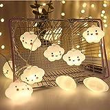 Bébé enfants mignon lampe chambre lumière couloir décor petite veilleuse Halloween noël vacances chaîne lumières 10 LED avec batterie alimenté partie salle de classe salle à manger décor (Nuage)