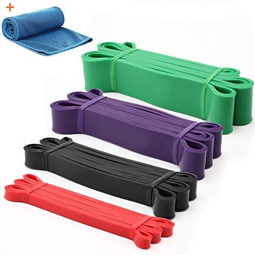 Gonex Elastiche Fitness, 4 Set Fasce Allenamento di Resistenza, 15-125 lbs Bande Elastiche Resistenza con Panno rinfrescante e Borsa, Loop Bands per Stretching, Potenziamento Muscolare, 100% Naturale