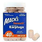 Mack's ThermaFit Soft Foam Earplugs, 40 Pair - Comfortable Ear Plugs for Sleeping, Snoring, Work, Travel & Loud Events