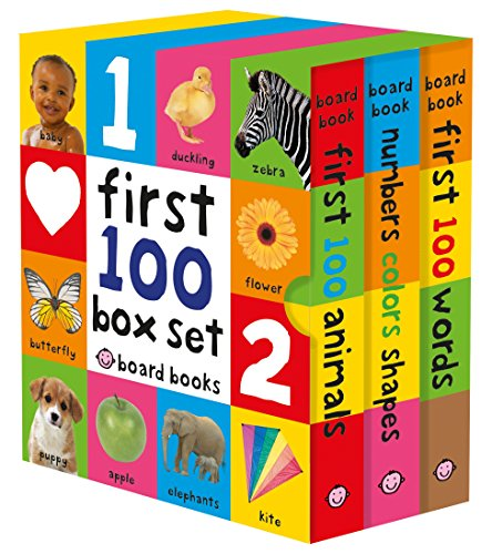 First 100 Board Book Box Set (3 books): First 100 Words,...