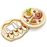 DREAMADE Käsebrett mit Besteck 2 in 1, Holzoptik Käseset, drehbares Käsebrett Set, Käseschneidbrett mit 4 Messern und Schneidplatte, multifunktionale Käsemesser Schneidbrett (Rund)