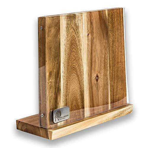 Dellinger Magnetischer Messerblock Holz & Ohne Messer & Messerhalter Magnet aus AkazieHolz mit Acrylabdeckung für eine organisierte und aufgeräumte Küche & unbestück leer für 4-5 Messer