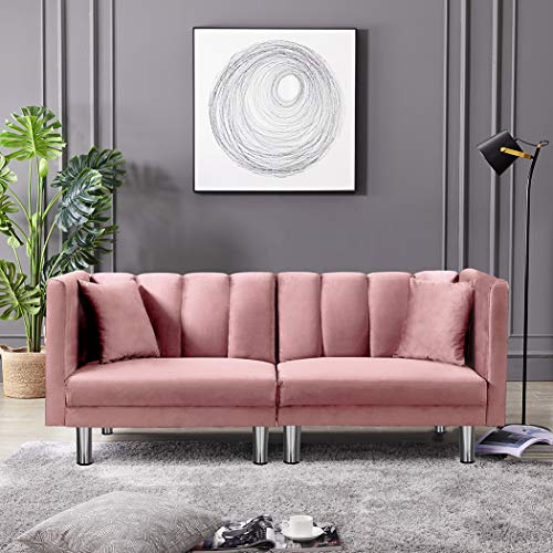 Velvet Futon Sofa Bed with Two Pillows, Modern Sleeper Sofa Couch with 3 Adjustable Angles, Convertible Small Loveseat for Living Room, Pink