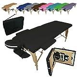 Linxor  Mesa de masaje plegable 2 zonas de madera con panel de Reiki + accesorios y bolsa de transporte - Nueve colores - Norma CE