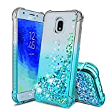 Samsung Galaxy J3 2018 Case,Galaxy J3 Star/J3 Orbit/Amp Prime 3/J3 V/Express Prime 3/J3 Achieve/J3 Top/Sol 3 Phone Case,TPU Glitter Liquid Quicksand Shockproof Protective Cover for Girls Women,Teal