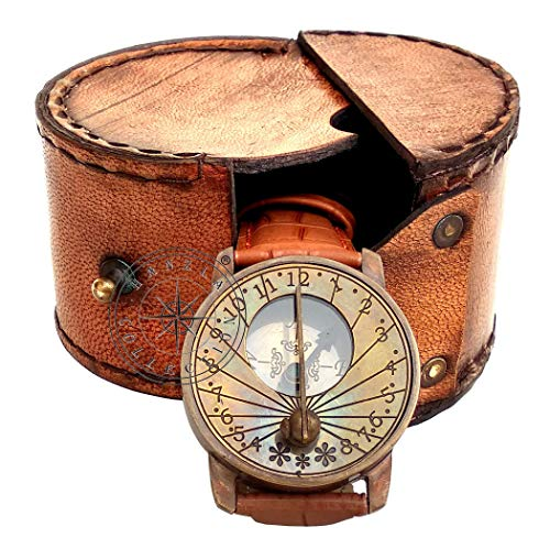 Hanzla Collection Antique Style Steampunk Wrist Brass Sundial & Compass Nautical Working Watch With Leather Case (Misc.)
