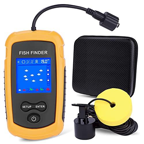 NOCOEX Ecoscandagli portatili e ecoscandagli, ecoscandaglio con trasduttore sonar, display LCD a colori e custodia per il trasporto, ecoscandaglio per pesca sul ghiaccio, pesca in barca, pesca in mare