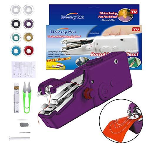 Mini Macchina Cucire Portatile, Handheld Cordless Strumento di Cucitura Rapida, Adatta per Tende in Tessuto Fai da Te e da Viaggio (Purple)