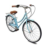 Micargi Roasca NV3 26 inch Women's Shimano Nexus Inter-3 Three Speed City Bike Hi-Ten Steel Frame Lightweight Comfort Commuter Bike Beach Cruiser Bike Road Bike (Baby Blue)