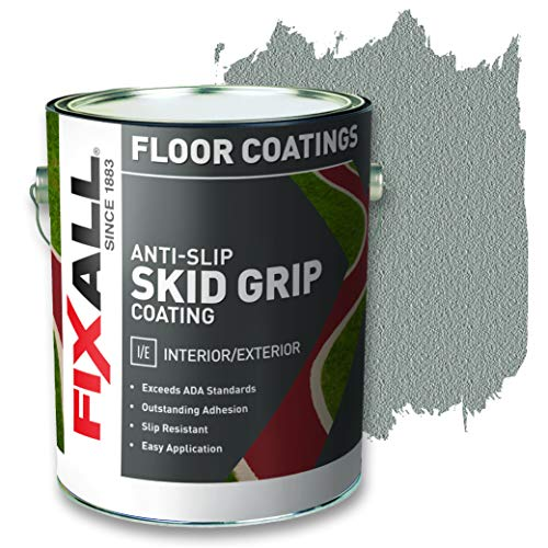 FIXALL Skid Grip Anti-Slip Paint, 100% Acrylic Skid-Resistant Textured Coating (Color Smoke F06570-1) 1 Gallon