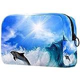 Neceseres de Viaje Delfín Sun Wave Portable Make Up Bags Neceser de Práctico Bolsa de Lavado de Baño Viajes Vacaciones Fiesta Elementos Esenciales 18.5x7.5x13cm