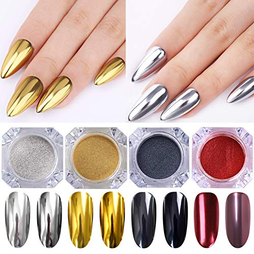 LILYCUTE Mirror Powder Nail Glitter Nail Art Chrome Powder Magic Mirror Effect Pigment Powder 4 Boxes