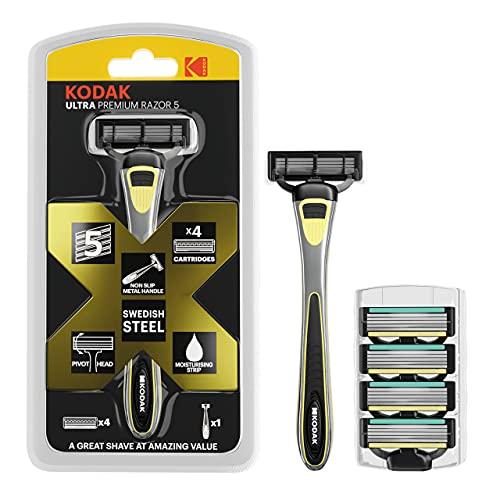 KODAK Ultra Men's Razor Blades with A 5 Blade Razor with Metal Handle - Shaving Kit & Beard Trimming | 4 x Refill Cartridges | Swedish Steel & Aloe Vera Strip for a Close Shave