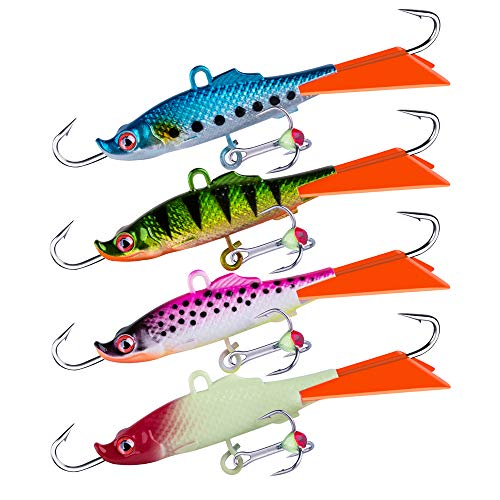 Goture Ice Fishing Jig Luminous Ice Fishing Lures Baits for Winter Ice Fishing for Walleye, Pike,...