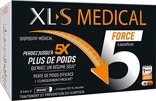 XL-S MEDICAL Force 5 – Une aide à la perte de poids efficace (1) - Aide à Perdre jusqu'à 5 x plus de Poids qu'avec un Régime Seul* – 1 mois - Boîte de 180 Gélules