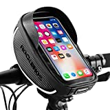 ROCKBROS Bike Phone Mount Bag Bike Front Frame Handlebar Bag Waterproof Bike Phone Holder Case Bicycle Accessories Pouch Sensitive Touch Screen Compatible with iPhone 11 XS Max XR 8 Plus Below 6.5'