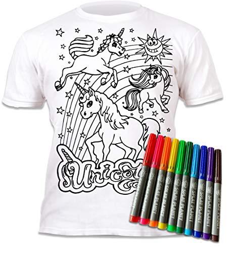 Splat Planet Camiseta Unicornio para niñas. con impresión para Pintar y Colorear. Incluye 6 Colores mágicos Lavables. Cumpleaños Infantil 5-6 años.