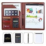 Leathario Portafolio A4 Piel Portadocumentos de Viaje Carpeta de Conferencias de Cuero Imitación Organizadora Profesional Comercial de Negocios con Calculadora