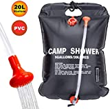 VIGLT Camping Shower Bag 5 Gallons/20L Solar Solar Shower Bag Heating with Removable Hose and Shower Head for Camping Outdoor Traveling Hiking Summer Shower (Black Portable Shower Bag)