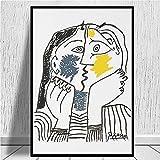 MEDASE Picasso The Kiss 1979 Reproducción de Pintura en Lienzo Poster e...
