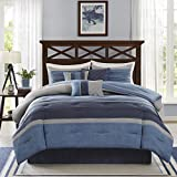 Madison Park Collins Queen Size Bed Comforter Set Bed In A Bag - Navy , Pieced Pleating – 7 Pieces Bedding Sets – Microsuede Bedroom Comforters